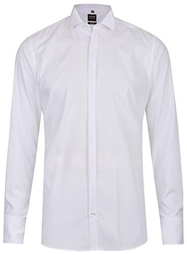 Olymp Herren Smokinghemd Level 5 Kläppchenkr. Umschlagm. weiß 3077 65 00, 40, White Matte White Modell