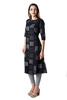 AnjuShree Choice Women's Black Cotton Straight Kurti - Black Sizes: S,M,L,XL