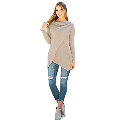 Sweatshirt Femmes Angelof Pull Fille Manches Longues Jumper SoldesBeige Sweatshirt Femme Outerwear IrréGulièRes Chic Blouse Tops T-Shirts (XL)