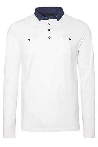 Brave Soul Herren Blusen Langarmshirt, Einfarbig grau grau Small Optic White