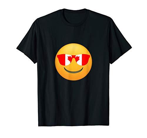 Coole Emojis Kanada Flaggen-Sonnenbrille Lustiger Kanadier T-Shirt