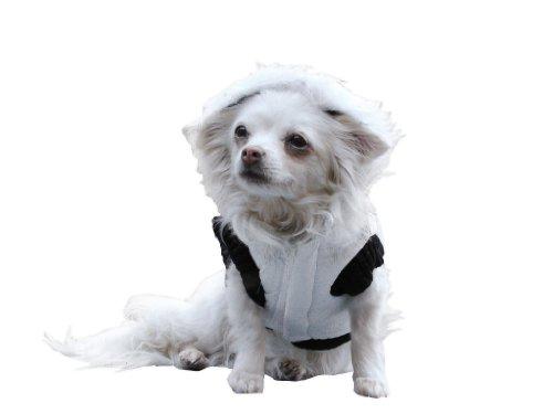 Ikumaal Dicker Steppmantel in weiss/schwarz mit Fell-Kaputze - Winterjacke Hund Bekleidung für Hunde Hundebekleidung und Hundemantel günstig M58 Gr. XS