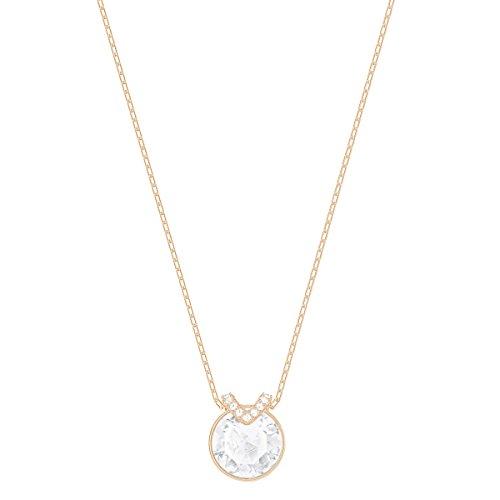 Swarovski pendente bella v, bianco, placcato oro rosa