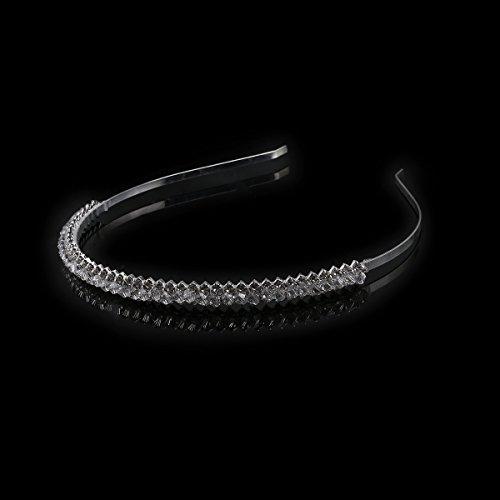 LEORX Boda nupcial pelo Barrettes cristal diamantes de imitación Tiara delgado ( plata)
