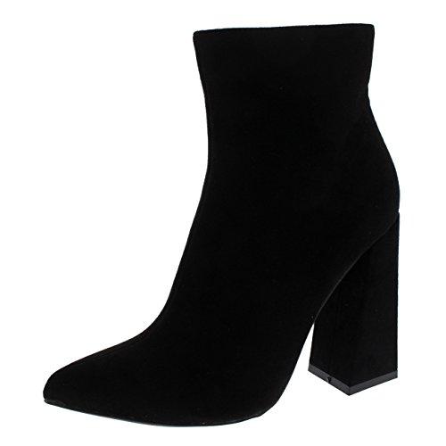 Damen Glänzend Block Ferse Mode Schick Elegant Frech Mittlere Ferse Stiefeletten - Schwarz - UK4/EU37 - KL0249 (Ferse Damen-komfort-schuhe)