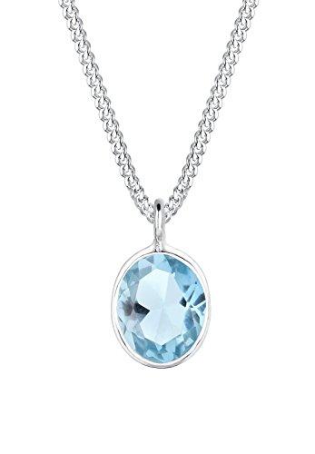 Elli Damen-Halskette mit Anhänger Geo Oval Topas Edelstein Festlich silber 925 blau