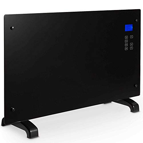 VonHaus 2000W Flat Glass Panel Heater – Digital LCD with Touch Panel, 2 Heat Settings & 7-Day Timer - Use Freestanding or Wall Mounted - Black