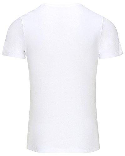 Jack & Jones Uomo T-shirt jcoFaster Weiß mit schwarz