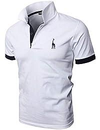 6b3cccf6565da GHYUGR Polos Manga Corta Hombre Bordado de Ciervo Camisas Slim Fit Camiseta  Deporte Golf Poloshirt Verano