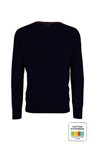 Adam - maglione da uomo girocollo - cotone cashmere - cuciture esterne (52 l it uomo, blu scuro)