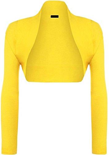 Damen Langarm Jersey Bolero Cardigan Top EUR Größe 36-42 Gelb