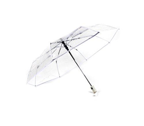MONTAGSLIEBE Taschenschirm Transparent, Regenschirm Durchsichtig, Transparenter Automatik Schirm, Stabil, Faltbar, Klein Für Die Reise