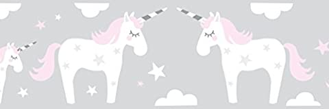 lovely label Wallpaper Border for Kids - Unicorn Wall Stickers for Children's Playroom or Bedroom in Pink/Grey - Self-Adhesive Wall Border Stickers - Wall Decal and Stickers for