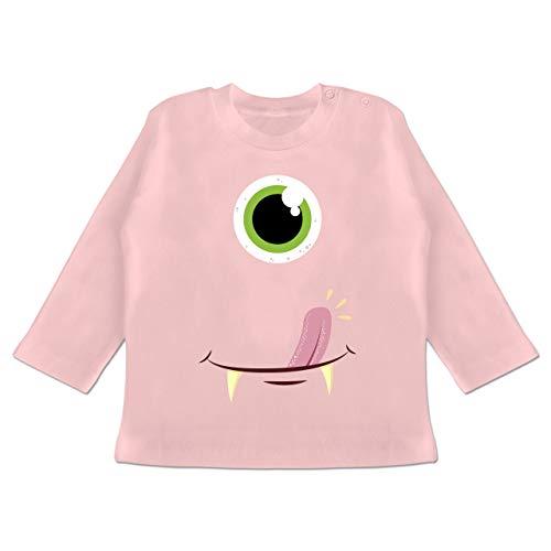 Karneval und Fasching Baby - Monster Gesicht Kostüm - 18-24 Monate - Babyrosa - BZ11 - Baby T-Shirt Langarm