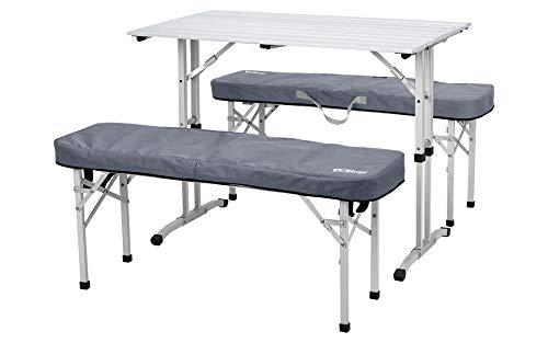 Berger Alu Picknick Tisch Silber Klapptisch Set Hocker inkl. Auflagen