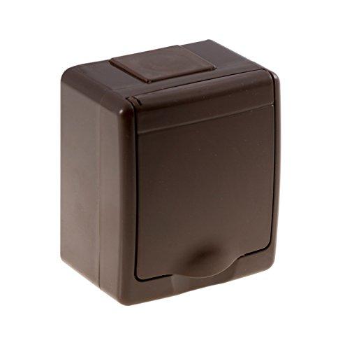 Aufputz-Steckdose 1-fach mit Klappdeckel IP44 braun, selbstdichtend