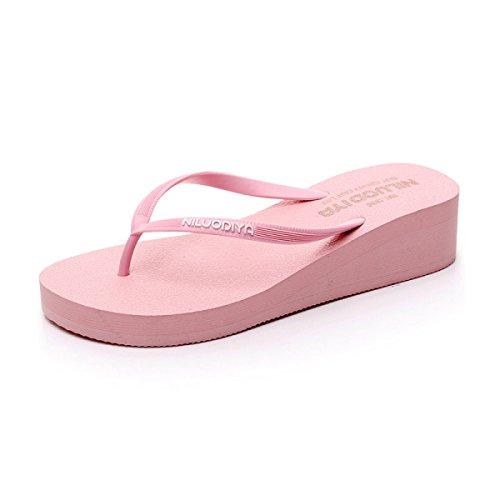 Pantoufles Mesdames Flip Flops Femmes Couleur Unie Tongs Tongs Lâche Sandales,Blue(L) Pink(s)