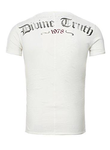 Key Largo Herren T-Shirt EVIDENCE Vintage Print mit Nieten Tattoo und Backprint Weiß