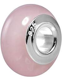 905634ebb2c3 Materia piedra Natural Cuarzo rosa con cuentas de cerámica con tapa de  plata ancha 925 -