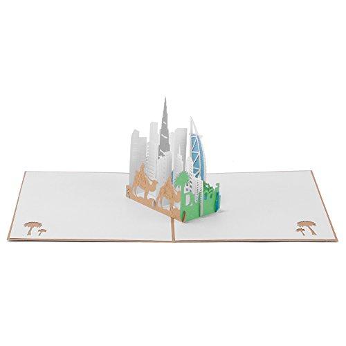 """Paper Spiritz Grußkarten """"Dubai"""" Geburtstagskarte Liebe Klappkarte Hochzeit Dankeskarte Kommunion Mädchen Pop Up Karte mit Umschlag"""
