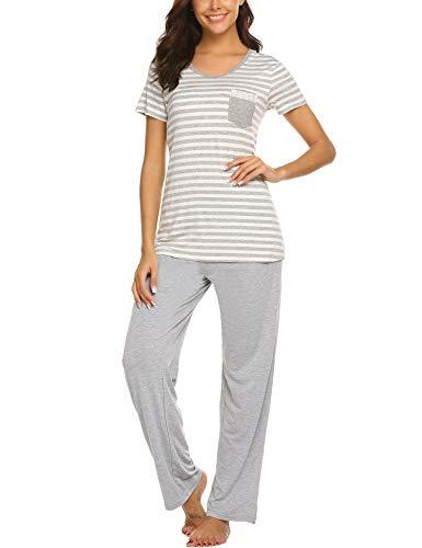 MAXMODA Damen Einfarbige Pyjama Set, Zweiteiliger Modal Langarm Schlafanzug, M, C_grau (Damen Modal Pyjama-sets)