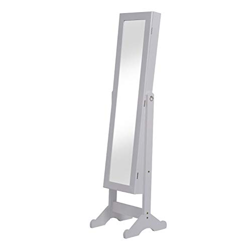 2 en 1 Espejo de Pie y Joyero Organizador para Dormitorio o vestidor - con Soporte de Suelo - Madera...