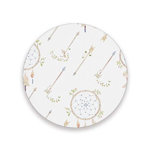 Posavasos con diseño de flechas de acuarela y atrapasueños de FANTAZIO para copas de vino o té con diferentes patrones adecuados para tazas y tazas, madera, 1, 1 piece set
