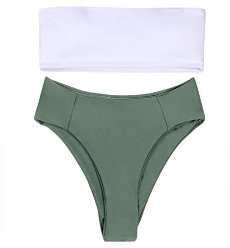 Damen Bandeau Badeanzüge 2 Stück Schulterfrei Hohe Taille Badeanzug High Cut ()