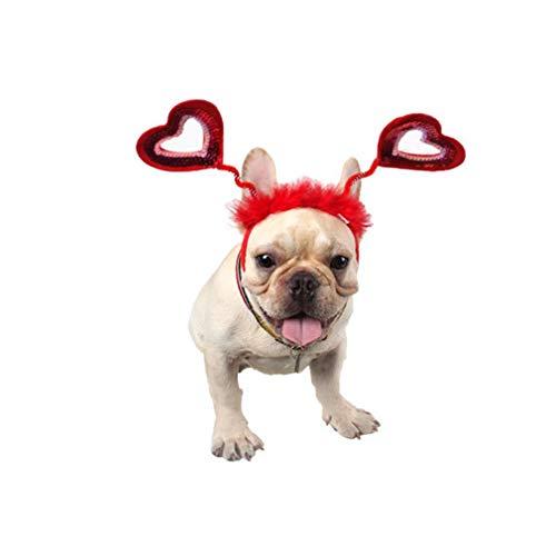Valentine Pet Stirnband Hund Stirnband,Pet Cosplay Pet Party Zubehör Partykostüm Produktraumzubehör (Rot)
