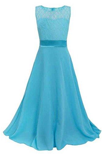 YMING Mädchen elegantes Spitze langes Festzug Abend Kleid Himmel Blau 13 14 Years (Blauer Ärmel Lange Jersey Himmel,)