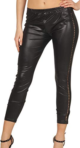 Veryzen Damen Wetlook Leggings Kunstleder Treggings Korsage Schnürung Glanz 7/8 Capri lang, Schwarz 34 36 38 Wet-look-capri-leggings