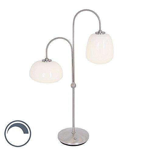 Steinhauer Modern Moderne Tischleuchte/Tischlampe/Lampe/Leuchte Stahl/Silber/nickel matt mit Glas dimmbar inkl. LED - Dale Dimmer/Dimmbar/Innenbeleuchtung/Wohnzimmerlampe/Schlafzimme -