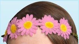 Pink Daisy Garland Haarband Stirnband Taufe Ostern Frühling Elastic Flower Hair, Krone Mädchen Kinder (Daisy Kostüme Kinder Halloween)
