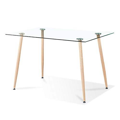 Adec - Liam, Mesa de Comedor, Mesa Salon Fija de Cristal Patas Color Oak, Medidas:140 cm (Largo) x 80 cm (Ancho) x 75 cm (Alto).