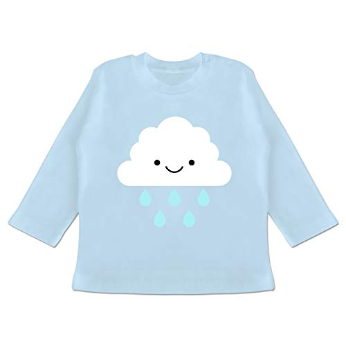 Karneval und Fasching Baby - Regenwolke Karneval Kostüm - 3-6 Monate - Babyblau - BZ11 - Baby T-Shirt Langarm