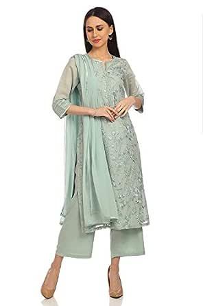 BIBA Women's cotton anarkali Salwar Suit Set (SKD5877_ Sea Green_ 2XL (42))