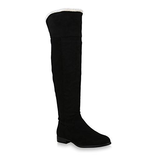 Stiefelparadies Damen Schuhe Stiefel Warm Gefütterte Overknees Langschaftstiefel 153786 Schwarz Black Carlet 42 Flandell