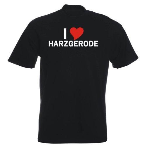 T-Shirt mit Städtenamen - i Love Harzgerode - Herren - unisex Schwarz