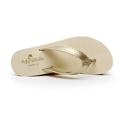 Damen Zehentrenner Keilabsatz Aufzug Anti-Rutsche Sandaletten Freizeit Urlaub Einfache Bequeme Sommer Schuhe Beige
