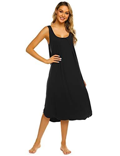 ADOME Nachthemd Damen Casual Ärmelloses Rundhals Pyjamas Kleid Trägerkleid mit Split Saum Plissiertes Design Frauen Tank Kleid Weiche leichte modale Outfits für den Haushalt
