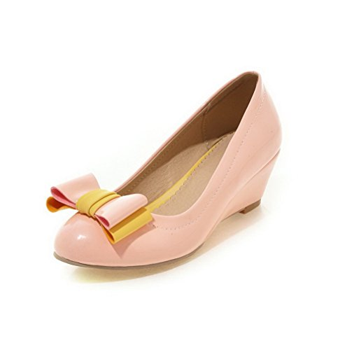 AllhqFashion Damen Mittler Absatz Lackleder Rein Ziehen Auf Rund Zehe Pumps Schuhe Pink