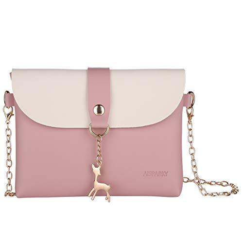 che Damen Kleine, Frauen Leder Handtasche Crossbody Geldbörse Hirsch Klein Cross Body Tasche Messenger Bag Handytasche Schultertasche für Women Mädchen (Pink) ()