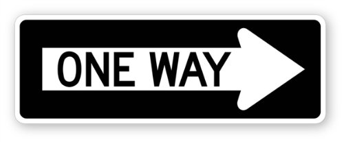 Walls 360 Peel & Stick Street and Traffic Sign Wandaufkleber, One Way Right 12 in x 4.25 in schwarz, weiß -