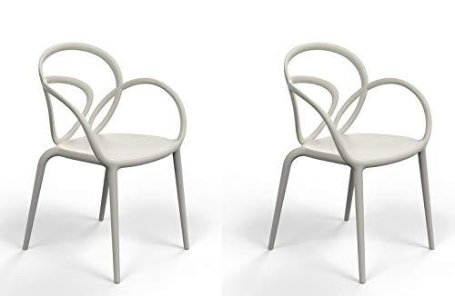 Qeeboo 30001GY Loop Set Sedie con Cuscino, Polipropilene, Beige, 52x56x84 cm 2 unità