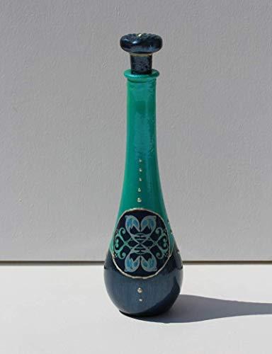 DOLPHINS & DOVES Flacon Flasche DOLPHIN LOVE Vase Glas Dekoration Glücks Delphine dunkelblau türkis Designer Glaskunst Deko maritim