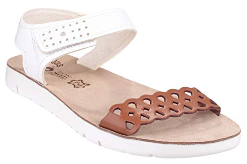 Fantsy Agios Ladies Summer Sandal Tan / White - 38 - Tan Leder-plattform