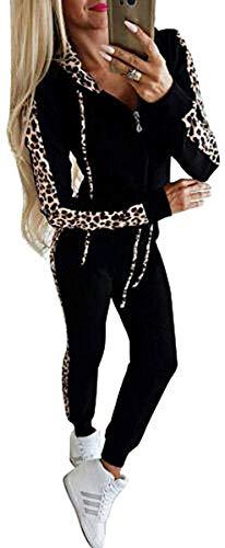 Loalirando Completo Sportivo Donna Leopardata Tuta da Ginnastica 2 Pezzi Felpa con Cappuccio con Zip+ Pantaloni a Vita Alta Sportwear per Yoga Corso Palestra Jogging Fitness