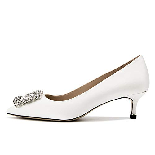 Lutalica Damen Kitten Heel Spitz Juwel Schnalle Satin Braut Hochzeit Pumps Schuhe Weiß Größe 41 EU