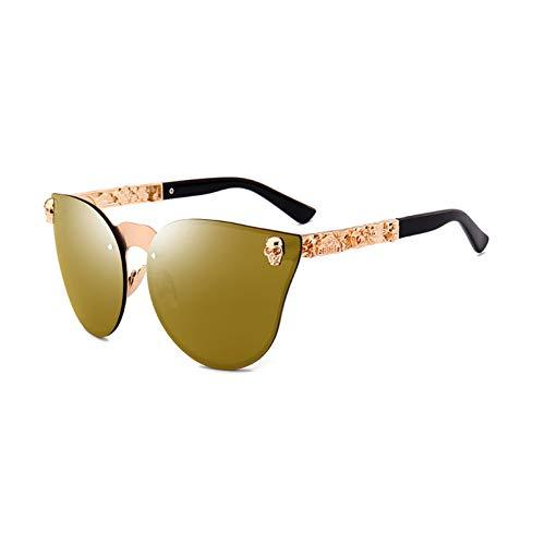 Siwen Neue Coole Sonnenbrillen Kristall Schädel Frauen Steampunk Sonnenbrillen Männer Punk Shades Uv400, Goldspiegel