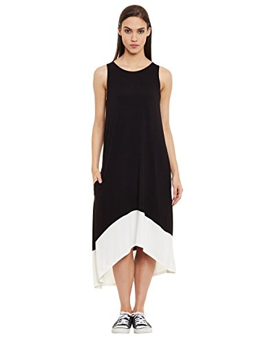 Femella Women's Black Colour Block Jersey Dress